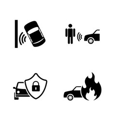 Auto safety simple related icons vector