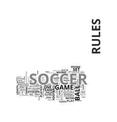 Basic soccer rules text word cloud concept vector