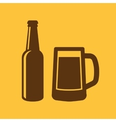 Bottle and glass of beer icon Beer and pub bar vector image vector image