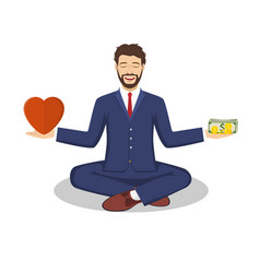 businessman found his balance with love and money vector image