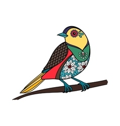 Colored bird with floral pattern vector image vector image