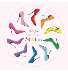 Colorful stiletto high heels set in circle layout vector image vector image