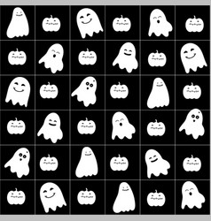 Cute cartoon ghost pattern vector