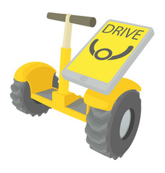 Drive on segway icon cartoon style vector