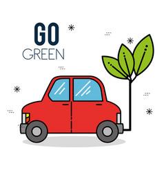 Eco car green energy design vector