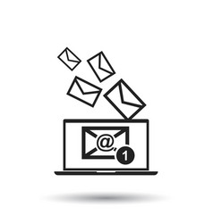 Email message on laptop in flat style on isolated vector