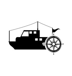 fishing boat and compass icon vector image vector image