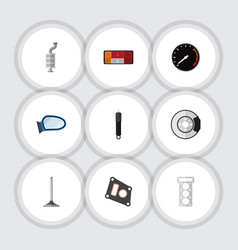 Flat icon component set of tachometr car segment vector