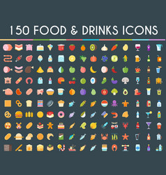 food and drinks big icons set vector image