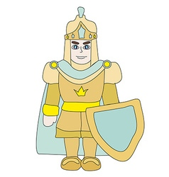 Funny cartoon knight on white background vector