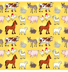 Funny farm animals with background vector image