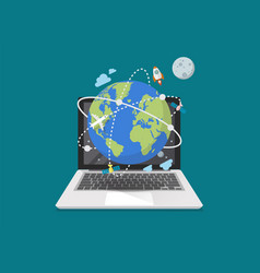 global network connection from laptop vector image vector image