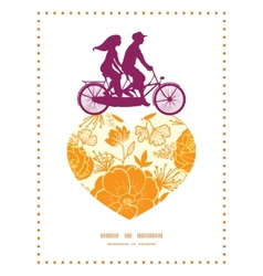 Golden art flowers couple on tandem bicycle heart vector