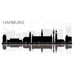 hamburg germany city skyline black and white vector image vector image