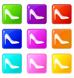 High heel shoe set 9 vector