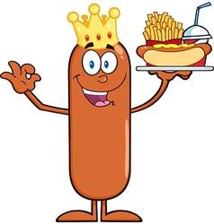 King sausage cartoon vector
