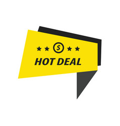 Label hot deal black yellow vector