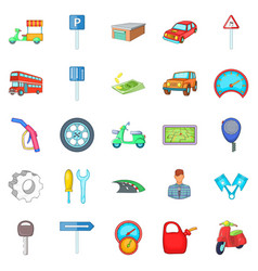 Motor car icons set cartoon style vector