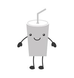 Plastic cup kawaii character vector