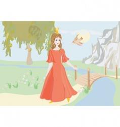 princess with bird vector image vector image