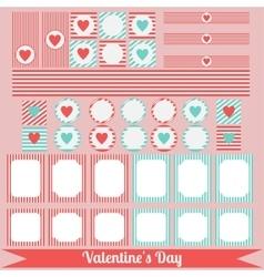 Printable set of saint valentine party elements vector image