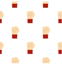 Raised up clenched male fist pattern seamless vector