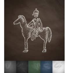 Rider on the horse icon hand drawn vector