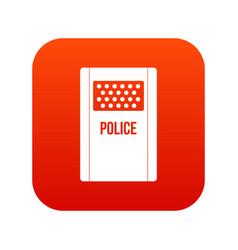 Riot shield icon digital red vector