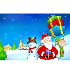 Santa with snowman and elf vector