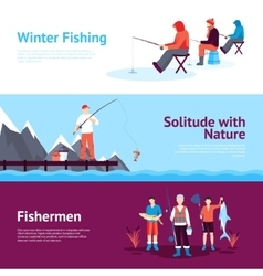 Seasonal Fishing Horizontal Banners Set vector image vector image