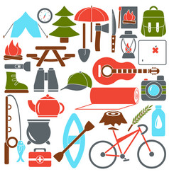 set camping equipment symbols vector image