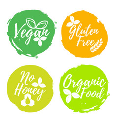 set of healthy and organic food label font with vector image