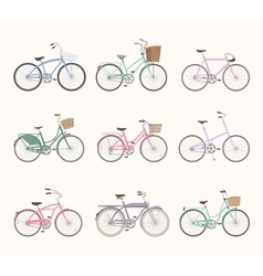Set of retro bicycles on white background vector