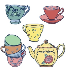 set with teapots and teacups vector image vector image