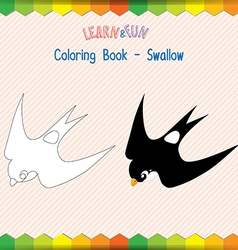 Swallow coloring book educational game vector image vector image