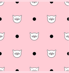 Tile pattern with white cats and black polka dots vector