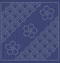 traditional japanese embroidery ornament with vector image