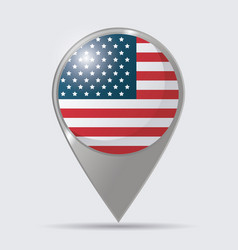 usa flag pointer map location glossy design vector image vector image