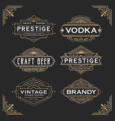 vintage line frame design for labels vector image vector image
