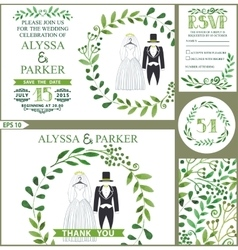 Wedding invitationgreen branches wreath clothes vector