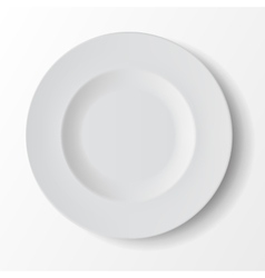 White empty round soup plate on background vector