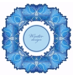 Winter frozen glass frame Blue wedding frame vector image vector image