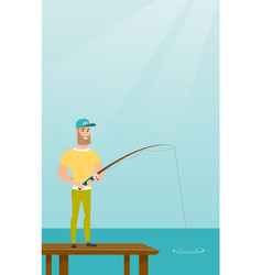 Young caucasian man fishing on jetty vector