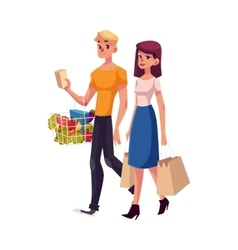 Young couple family man and woman shopping vector