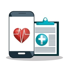 Smartphone diagnosis cardiology digital healthcare vector