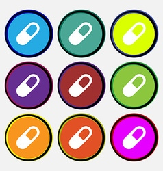 Pill icon sign nine multi colored round buttons vector