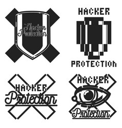 Color vintage hacker protection emblem vector