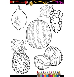 Cartoon fruits set for coloring book vector