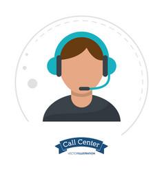 Call center man receptionist help vector