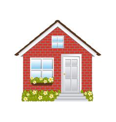 comfortable facade small house with brick wall vector image